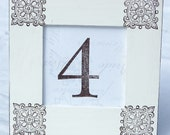 Set of 10 WEDDING TABLE NUMBERS, Vintage, Scroll, Vintage White, Bridal Shower, Distressed, Shabby Chic