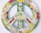 Mosaic Art Peace Sign Wall Hanging ReTRo Vintage May Morning