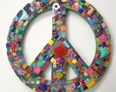 Funky Found Object Mosaic Peace Sign ReTRo Wall Art DOODLES