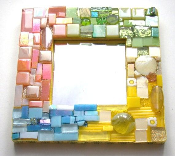 Mini Mosaic Mirror Yellow Lime Pale Blue Salmon SHERBERT Tile Beads Mixed Media