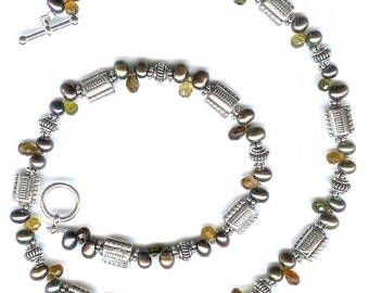 Tourmaline And Pearl Sterling Silver Necklace FD82D