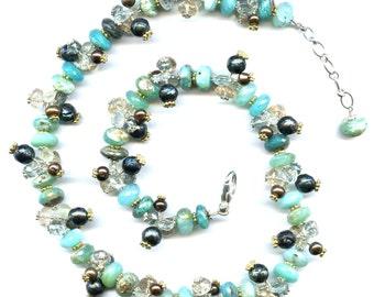 Peruvian Opal And Multi Gemstone Necklace FD523C