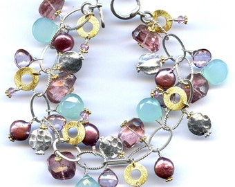 Peruvian Chalcedony And Pink Topaz Bracelet FD539D