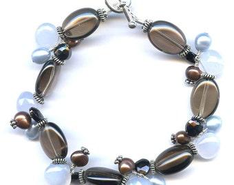 Smoky Quartz And Multi Gem Silver Bracelet FD604