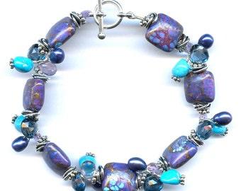 Turquoise And Multi Gem Bracelet FD659