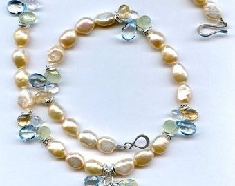 Peach Pearl And Mulit Gem Sterling Silver Necklace FD666