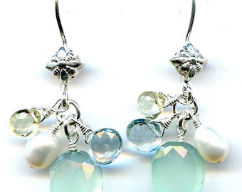 Peruvian Chalcedony And Aquamarine Sterling Silver Earrings FD672B
