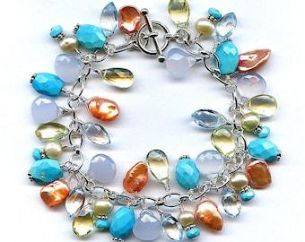 Sleeping Beauty Turquoise And Multi Gem Bracelet FD432C