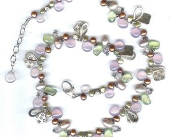 Purple Chalcedony And Multi Gem Necklace FD410