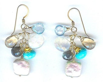 Sleeping Beauty Turquoise And Multi Gem Earrings FD403B