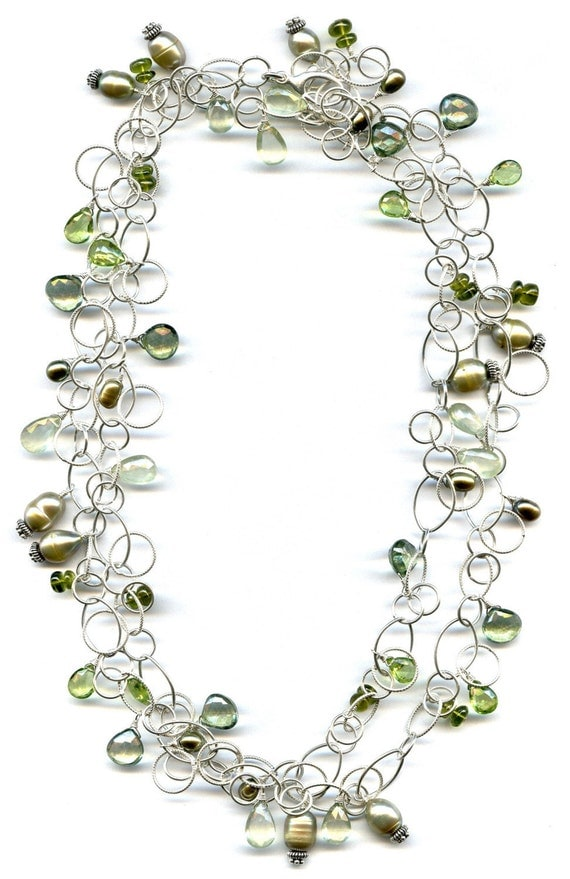 Green Pearl And Multi Gem Long Sterling Silver Necklace FD476B