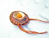 Wooden Button Brooch: Orange Pekoe