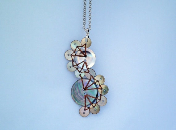 Dark Mother of Pearl Button Pendant Necklace: The World is Our Oyster