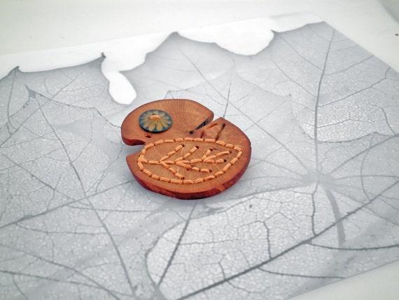 Wooden Orange Leaf Button Brooch