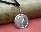 Question Mark Pendant Necklace - Stamped Sterling Silver  Nerd Jewelry- Geekery Charm, Punctuation Geek Gift, Riddle
