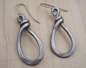 Teardrop Loop Hoop Earrings - Light Weight Aluminum Jewelry, Wire Dangle Earring - Hammered Metal Teardrop Earrings, Women