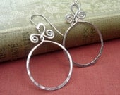 Big Sterling Silver Hoop Earrings, Circle With Spiral Twists Gift for Her Boho Jewelry, Large Hoops Lightweight Everyday Earring Women  Wife