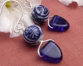 Chinese Porcelain Cobalt Blue Earrings, Glass Triangle Dangle Earrings, Asian Jewelry, Beads, Women