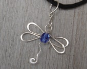 Dragonfly Necklace With Blue Sapphire Glass Bead , Sterling Silver Wire Pendant, Dragonfly Jewelry, Women