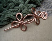 Copper Celtic Double Crossed Loops Shawl Pin, Hair Pin, Scarf Pin, Sweater Clips Knitting Accessories Jewelry, Hair Slide, Barrette, Women