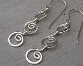 Three Little Swirls All in a Row Sterling Silver Dangle Earrings - Silver Wire Jewelry, Women, Chain Earring