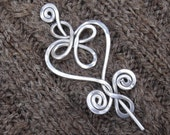 Celtic Heart and Swirls Aluminum Shawl Pin, Mother's Day Gift for Her Scarf Pin, Sweater Clip Brooch, Fastener, Women, Knitting Accessory