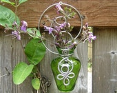 Green Glass Celtic Spirals Hanging Wall Vase - wall decor flower vase gift, garden, outdoors, housewares, plant rooter, home decor, vessel