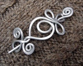 Celtic Loops and Spirals  Shawl Pin, Scarf Pin, Hair Pin - Light Weight Aluminum Wire - Celtic Accessories, Closure, Brooch, Knitting