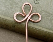 Trinity Clover Loops Copper Hair Stick, Shawl Pin, Scarf Pin - Long Hair Accessory - Bun Holder - Women, Knitting Accessories