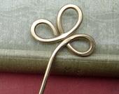 Trinity Clover Loops  Brass Hair Stick, Shawl Pin, Scarf Pin - Long Hair Accessories - Women - Bun Holder