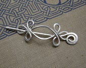 Little Celtic Double Crossed Loops Sterling Silver Lace Shawl Pin, Scarf Pin, Sweater Brooch Accessory - Women, Knitting Accessories