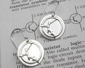 NPN Transistor Symbol Electronics Earrings - Science Jewelry, Teacher, Geekery, Nerd - Sterling Silver