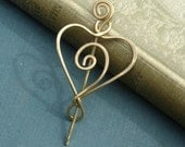 Little Brass Spiral Heart Shawl Pin, Scarf Pin, Sweater Brooch, Heart Pin Accessory, Lace Shawl Pin  Knitting Accessories Gift for Her Women