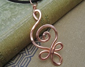 Celtic Budding Spiral Copper Pendant - Celtic Copper Necklace - Celtic Jewelry - Hammered Wire, Women, Metal