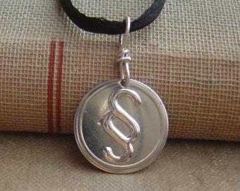 Section Sign Typography Character Geek Pendant, Nerd Jewelry, Geekery Necklace, Editing, Squiggly Punctuation, Graduation Gift, Teacher Gift