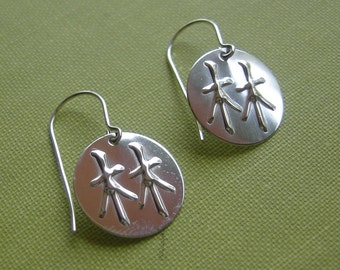 Forest Earrings -Japanese Kanji and Chinese Character for Forest Sterling Silver Earrings, Asian Jewelry, Earring, Women, Jewellery