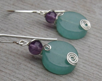 Green Aventurine and Amethyst Spiral Swirl Stone Silver Earrings - Dangle Earrings - Stone Jewelry, Women