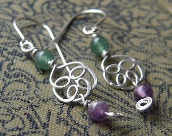 Swirly Celtic Knot Flower Aventurine and Amethyst Earrings, Dangle Earrings, Celtic Jewelry, Stone Beads Hammered Wire Earrings, Women Gift