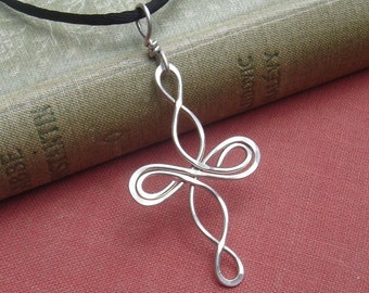 Celtic Cross Necklace, Infinity Loops Sterling Silver Necklace, Celtic Knot Jewelry, Wire Cross Confirmation Gift, First Communion Gift