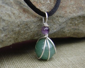 Green Aventurine and Amethyst Little Wirewrapped Pendant- Green Stone Necklace- Stone Jewelry