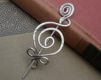 Celtic  Budding Spiral Sterling Silver Shawl Pin, Scarf Pin, Fastener, Sweater Brooch, Closure - Women,Knitters Knitting Fashion Accessories