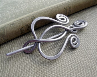 Unfurling Tulip Flower Lyre Aluminum Shawl Pin, Scarf Pin, Fastener, Sweater Brooch - Hammered Metal Jewelry - Women, Knitting Accessories