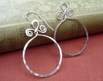 Big Sterling Silver Hoop Earrings, Circle With Spiral Twists, Gift for Her Jewelry, Large Dangle Boho Hoops, Women, Mom, Wife