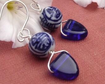 Chinese Porcelain Cobalt Blue Earrings, Dangle Earrings, Cobalt Blue Glass Earrings, Asian Jewelry, Beads, Women, Gift for Her