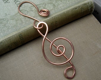 Copper Treble Clef Ornament, Music Gift, Musician Gift, Choir Christmas Ornament Holiday Decoration, Hanging Home Decor Music Note, Singer