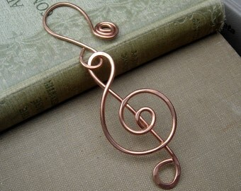 Copper Treble Clef Ornament - Music Teacher Gift, Musician - Christmas Ornament Holiday Decoration, Hangng Home Decor - Music Note, G Clef