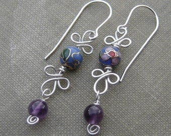 Blue Cloisonne and Amethyst  Dangle Sterling Silver Wire Earrings, Mother's Day Stone Beads Spirals and Swirls, Women, Jewelry, Jewellery