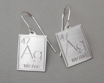 Atomic Symbol For Silver Earrings - Periodic Table of Elements Jewelry, Science Jewelry, Chemistry Jewelry, Geekery, Scientist Gift, Women
