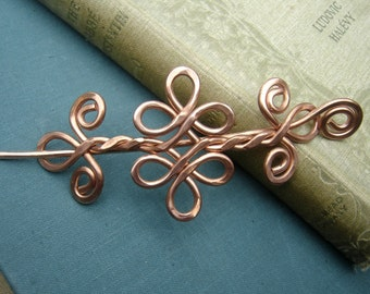 Celtic Knot Double Swirls and Curls Copper Shawl Pin, Hair Pin, Scarf Pin, Sweater Brooch, Barrette, Hair Clip - Hair Accessory, Accessories