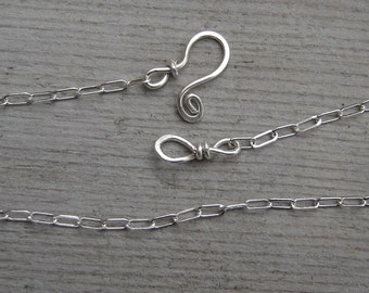 Sterling Silver Flat Cable Chain With Handmade Clasp